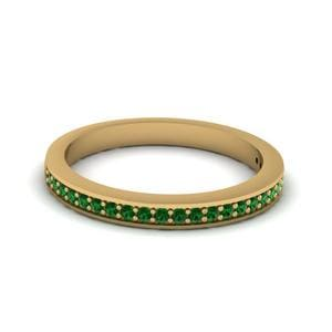 Thin Pave Wedding Band With Emerald In 18K Yellow Gold