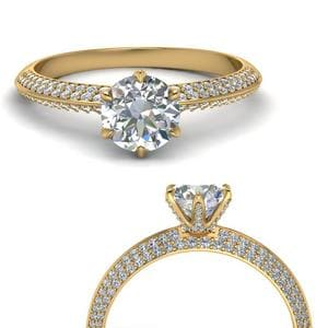 18K Yellow Gold 2 Row Diamond Ring