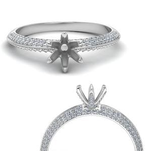 14K White Gold Diamond Ring Mountings