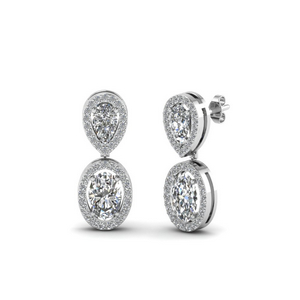 Pear And Oval Diamond Halo Earring