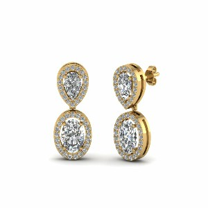 Halo Style Diamond Earring Yellow Gold