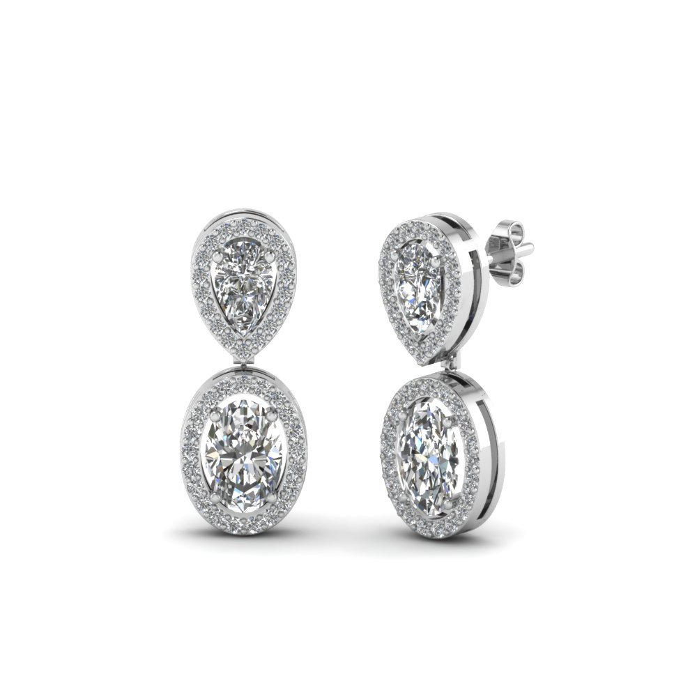 Pear Diamond Halo Earring