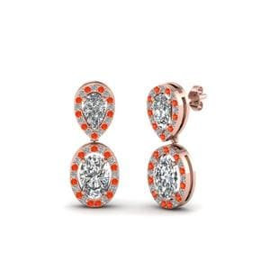Halo Earrings With Orange Topaz