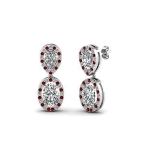 Halo Style Drop Ruby Earrings