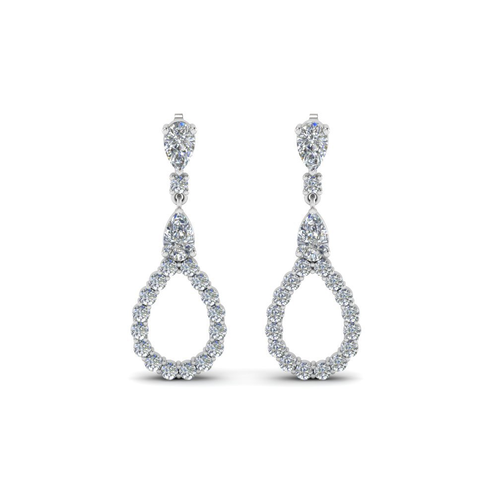 Pear Style Diamond Drop Earrings