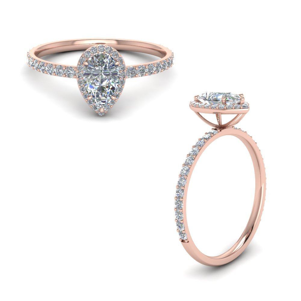 Pear Halo Diamond Engagement Ring In 14K Rose Gold