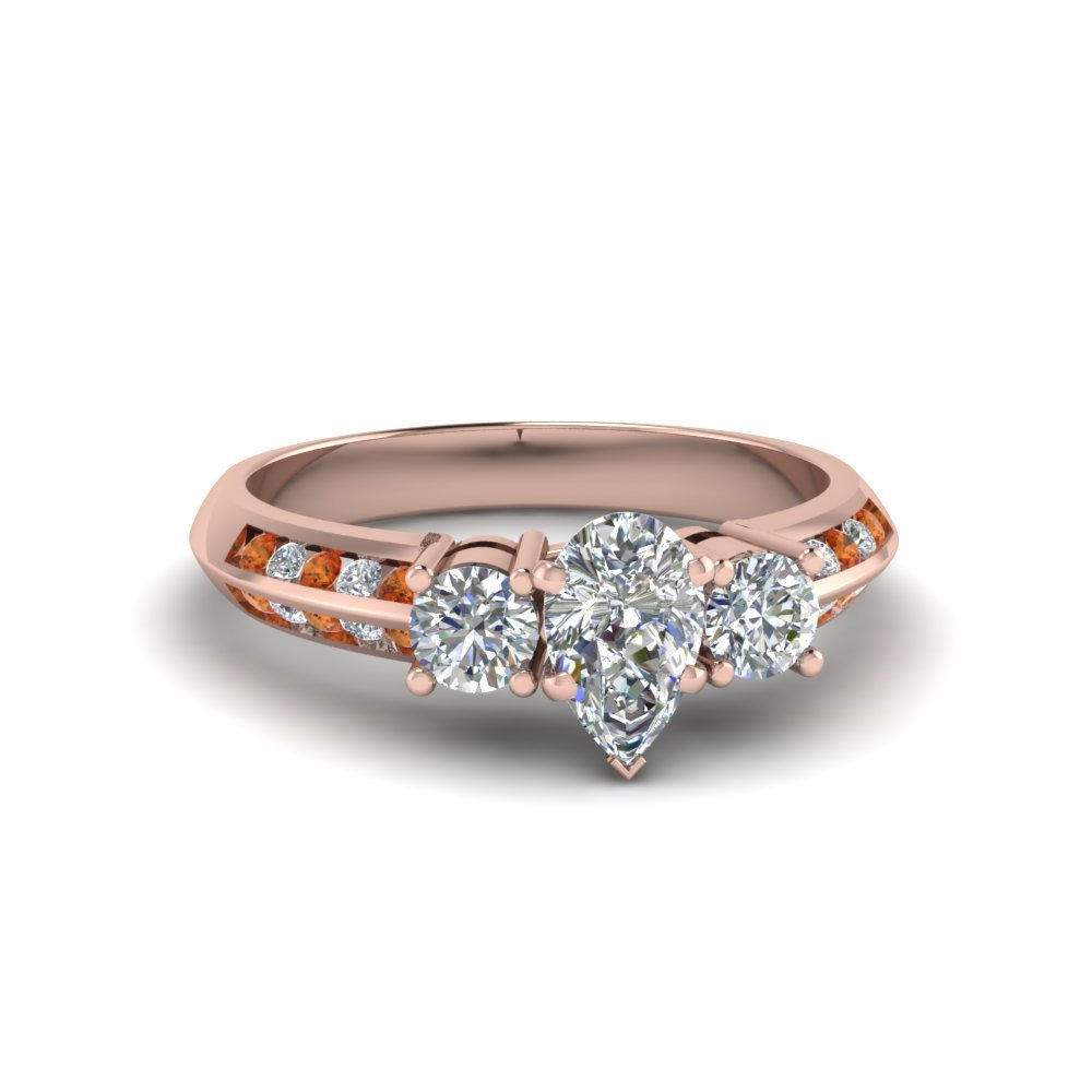 Rose Gold Pear Diamond Ring