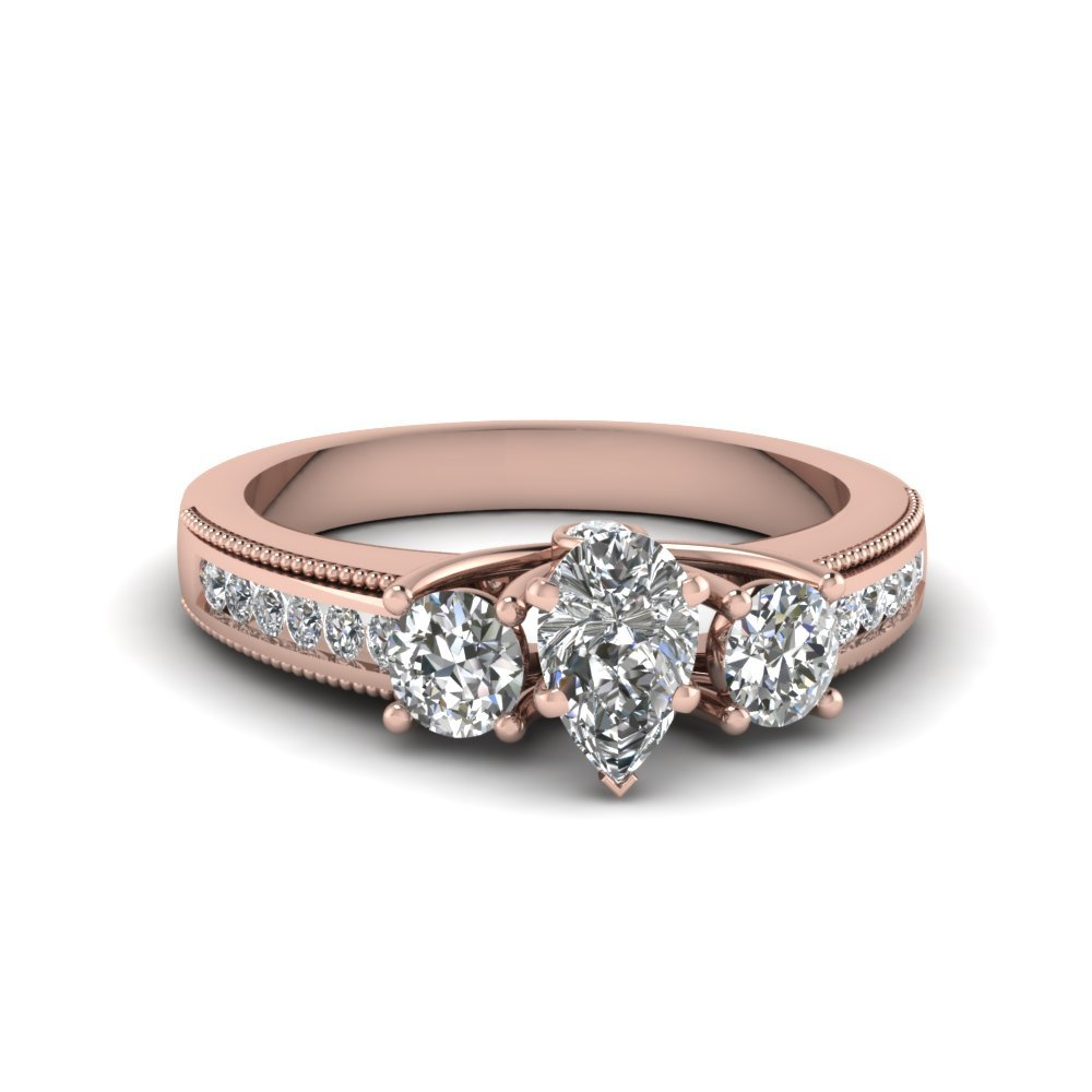 Pear Shaped Three Stone Floating Prong Milgrain Diamond Vintage Wedding Ring In 14K Rose Gold