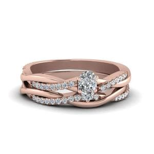 Pear Shaped Infinity Twist Diamond Matching Bridal Set In 14K Rose Gold