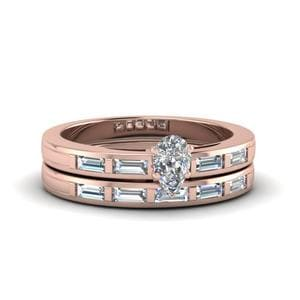 Pear Shaped Bar Baguette Diamond Simple Wedding Ring Set In 14K Rose Gold