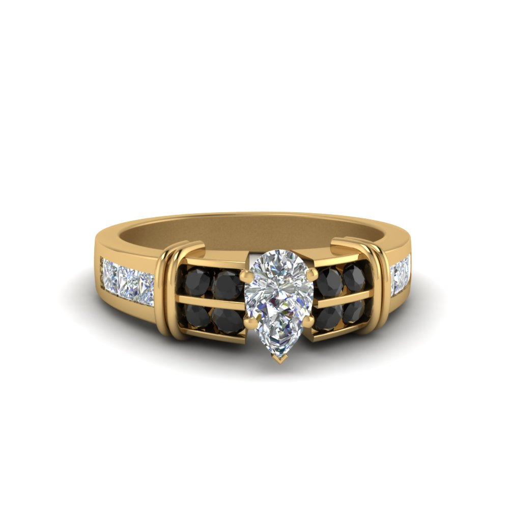 Pear Shaped Bar Channel Set Wide Ring With Black Diamond In 18K Yellow Gold