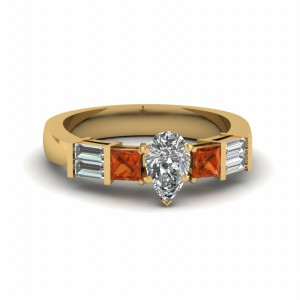 Orange Sapphire Gold Diamond Ring