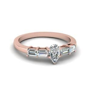 Pear Shaped Basket Prong Baguette Diamond Engagement Ring In 14K Rose Gold