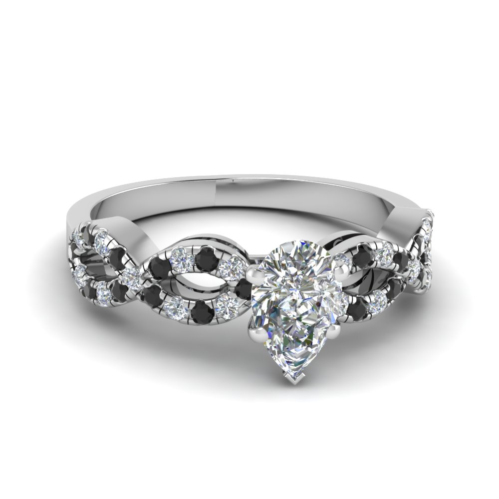 Pear Shaped Braided Engagement Ring With Black Diamond In 18K White Gold