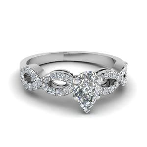 Pear Shaped Braided Diamond Engagement Ring In 950 Platinum