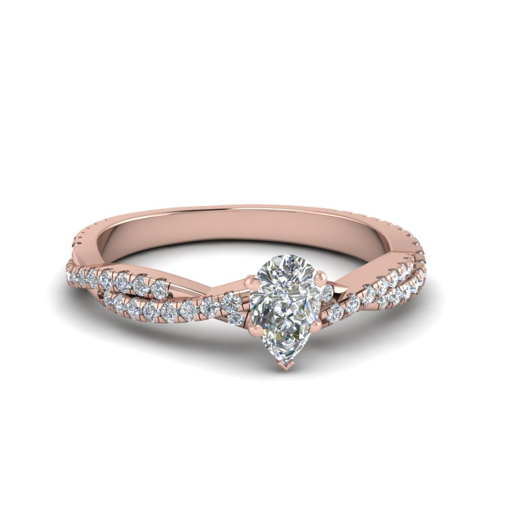 Pear Shaped Braided Twisted Diamond Ring