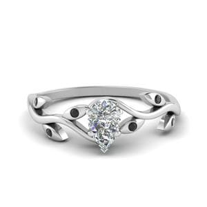 Platinum Vine Black Diamond Ring