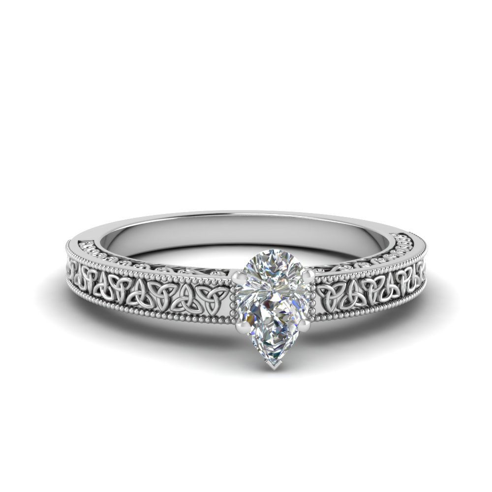 Pear Shaped Celtic Engraved Solitaire Ring In 14K White Gold