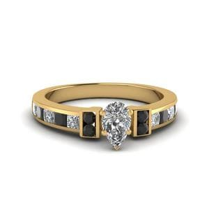 Pear Shaped Channel Bar Set Engagement Ring For Women With Black Diamond In 18K Yellow Gold