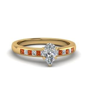 Pear Shaped Channel Princess Cut Diamond Enagagement Ring With Orange Sapphire In 18K Yellow Gold