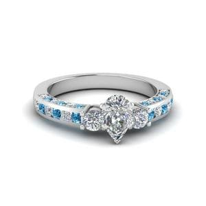Pear Shaped Channel Set Diamond Ring