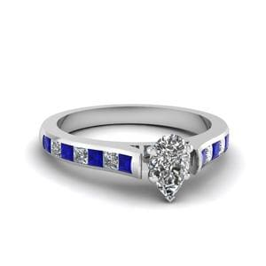 Pear Shaped Cathedral Channel Set Diamond Engagement Ring With Sapphire In 950 Platinum