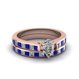 Pear Diamond Rose Gold Ring Set