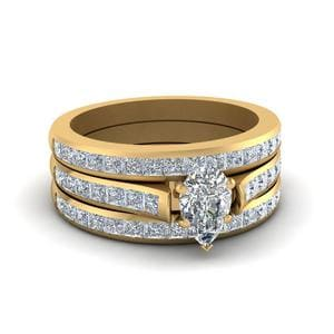 Trio Channel Wedding Ring Set