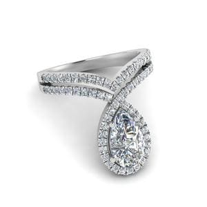 Pear Shaped Curved Halo Diamond Ring