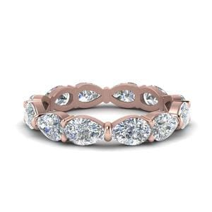 Pear Shaped Diamond 3 Carat Eternity Band In 14K Rose Gold