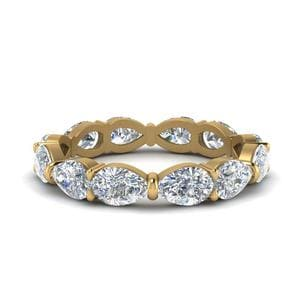 Pear Shaped Diamond 3 Carat Eternity Band In 14K Yellow Gold