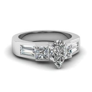 Art Deco Pear Diamond Engagement Ring In 950 Platinum