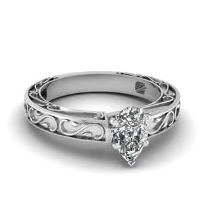 Carved Pear Diamond Solitaire Engagement Ring In 14K White Gold
