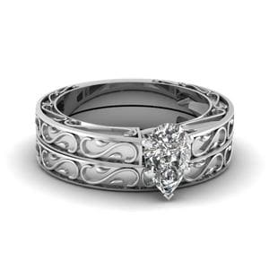 Carved Pear Diamond Solitaire Wedding Ring Set In 18K White Gold