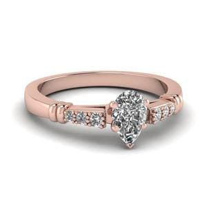 Pave Bar Set Pear Shaped Diamond Engagement Ring In 14K Rose Gold