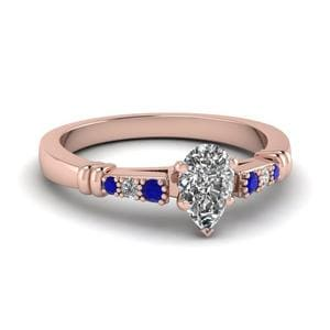 Pave Bar Set Pear Shaped Diamond Engagement Ring With Sapphire In 14K Rose Gold