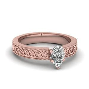 Engraved Milgrain Pear Shaped Solitaire Engagement Ring In 14K Rose Gold