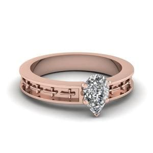 Cross Engraved Pear Shaped Solitaire Engagement Ring In 14K Rose Gold