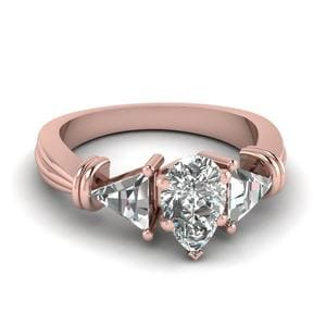 Trillion 3 Stone Pear Diamond Engagement Ring In 14K Rose Gold