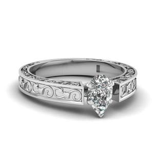 Pear Shaped Diamond Filigree Solitaire Engagement Ring In 14K White Gold