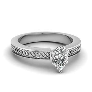 Weaved Design Pear Shaped Solitaire Engagement Ring In 14K White Gold