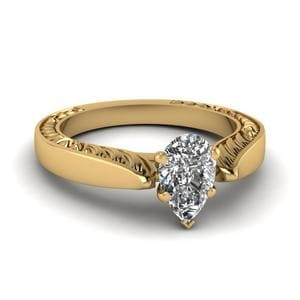 Tapered Solitaire Engraved Ring