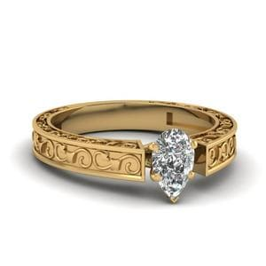 Pear Shaped Diamond Filigree Solitaire Engagement Ring In 14K Yellow Gold