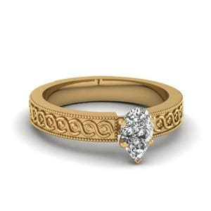 Engraved Milgrain Pear Shaped Solitaire Engagement Ring In 14K Yellow Gold