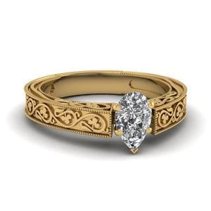 Vintage Pear Solitaire Diamond Ring In 14K Yellow Gold