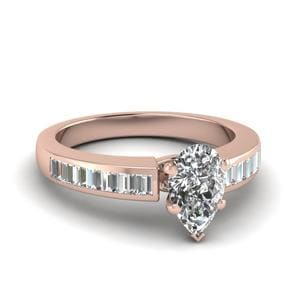 Baguette With Pear Diamond Ring