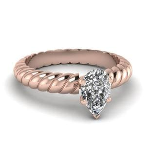 Single Pear Shaped Diamond Ring