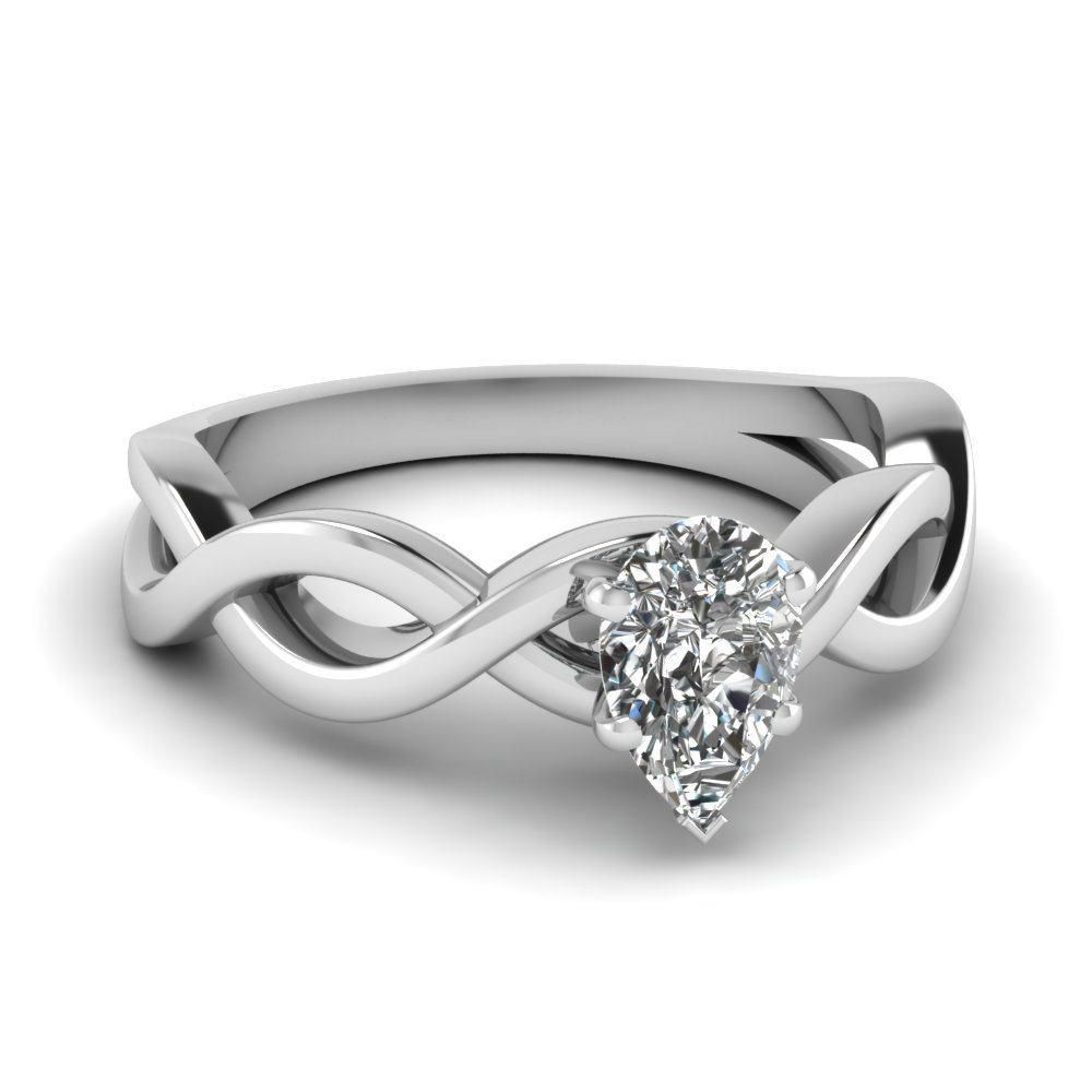 Infinity Pear Diamond Solitaire Engagement Ring In 18K White Gold