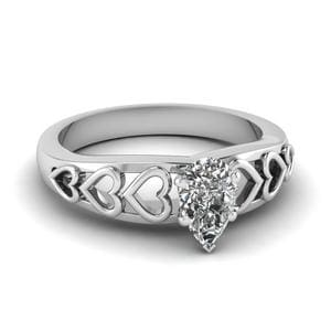 Pear Diamond Heart Design Ring