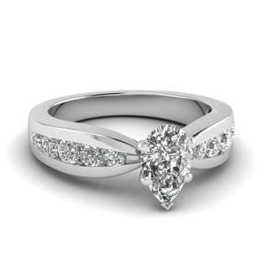 Tapered Channel Set Pear Diamond Engagement Ring In 950 Platinum